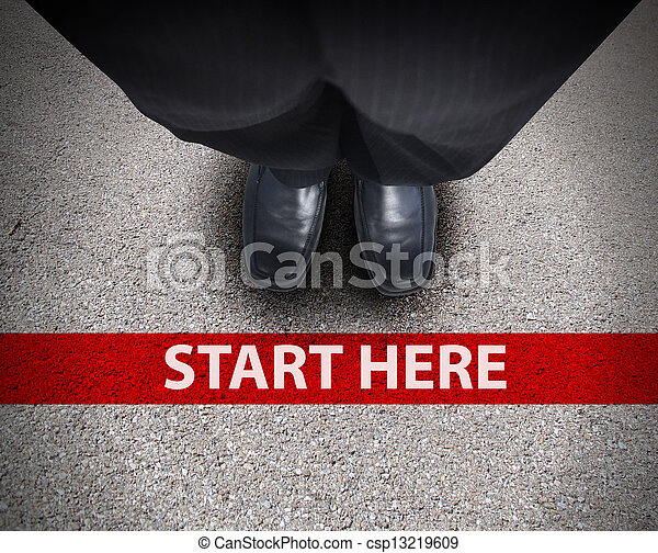 Business Man at Starting Line Road Path - csp13219609