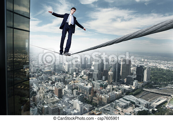 Business man balancing on the rope - csp7605901