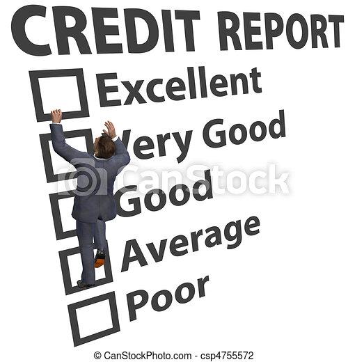 Business man build credit score rating up - csp4755572