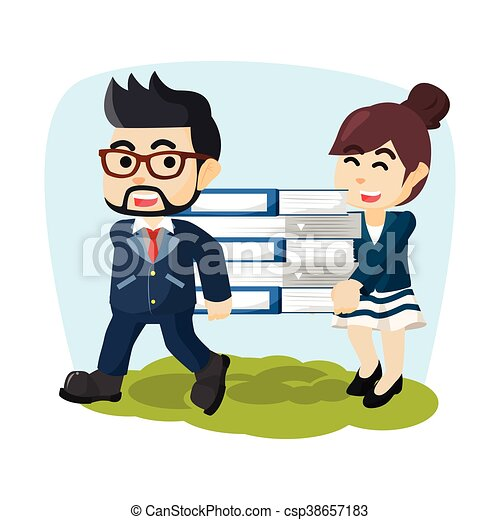 Business man carrying big document - csp38657183