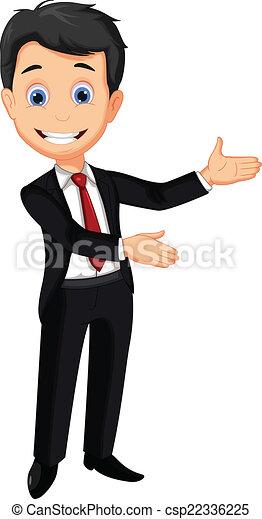 business man cartoon presenting - csp22336225
