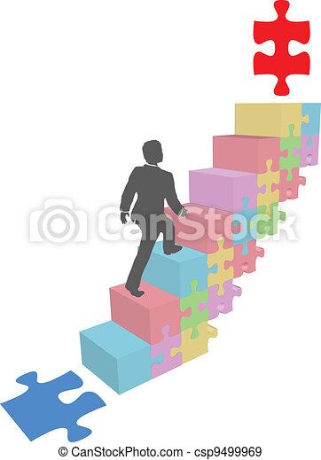 Business man climb up puzzle steps - csp9499969