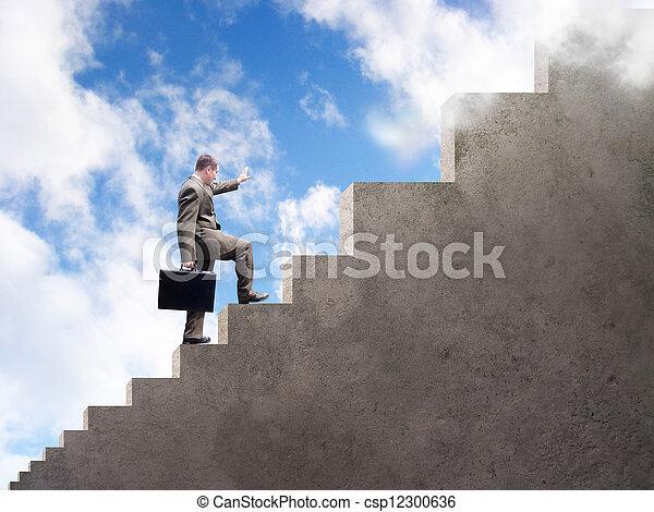 Business Man Climbing To Success - csp12300636