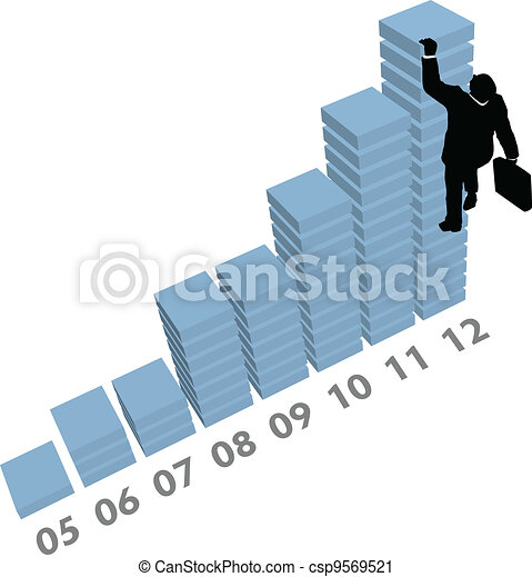 Business man climbs up sales data chart - csp9569521