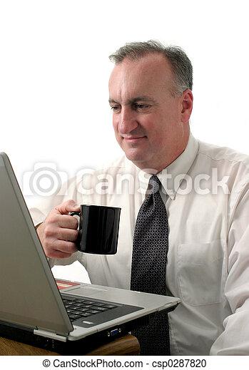 business man coffee break with laptop - csp0287820