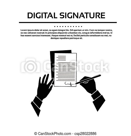 Business Man Document Signature Black Hands Silhouette Signing Up Contract - csp28022886