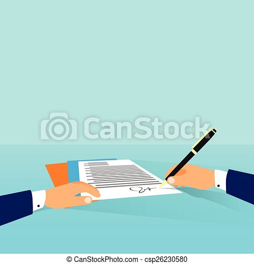 Business man document signing up contract agreement, Businessman workplace at office desk write - csp26230580