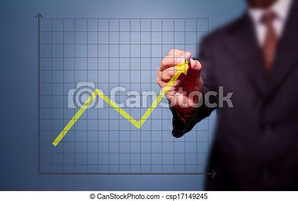 business man drawing over target achievement graph  - csp17149245