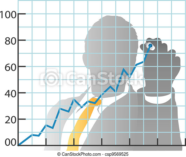 Business man drawing sales market share chart - csp9569525