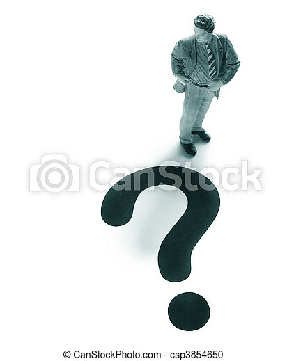 business man figure with a large question mark - csp3854650