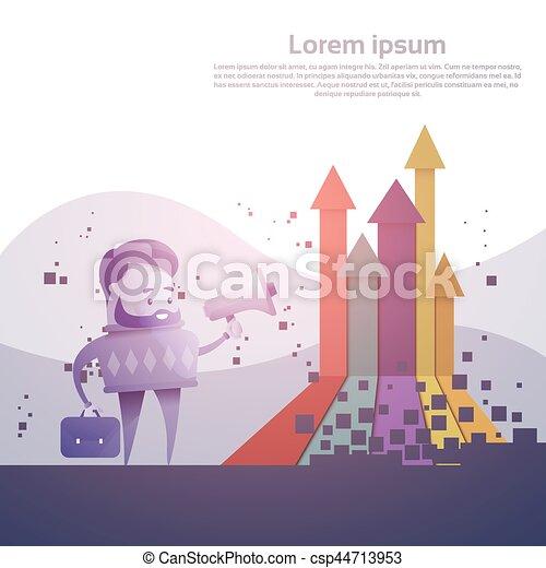 Business Man Finance Graph Arrow Up Financial Success Concept - csp44713953