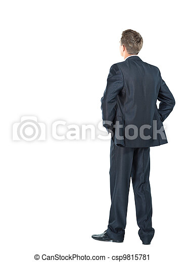 business man from the back - looking at something over a white background - csp9815781