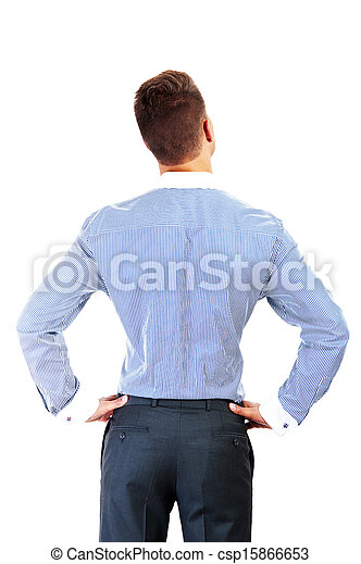 business man from the back - looking at something over a white background - csp15866653