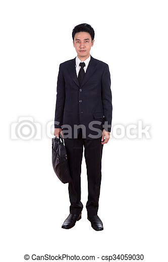 business man, full length isolated on white - csp34059030