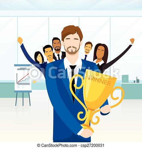 Business Man Get Prize Winner Cup, People Congratulating Colleague - csp27200031