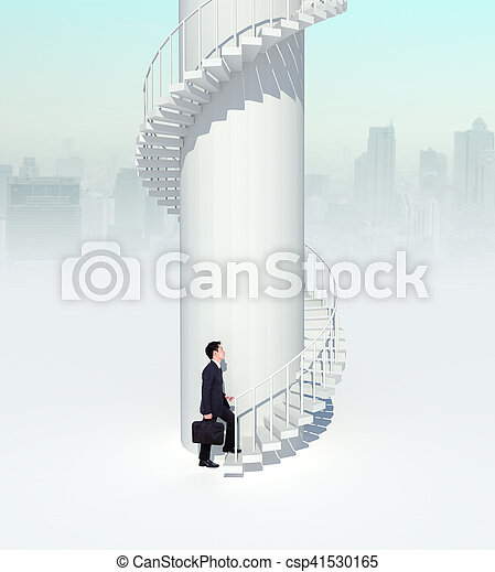 business man going upstairs in curved staircase to success - csp41530165