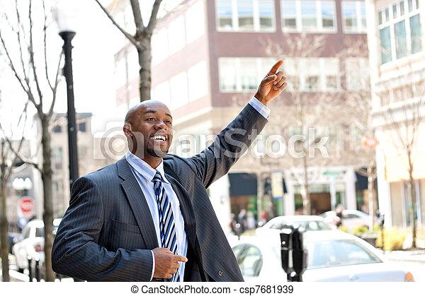 Business Man Hails a Taxi - csp7681939
