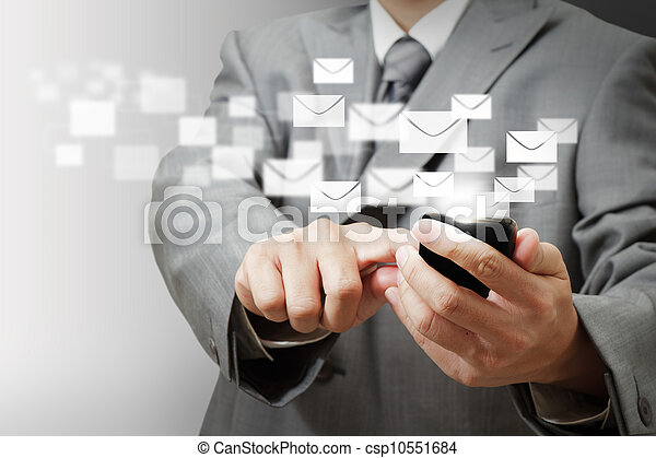 Business man hand hold Touch screen mobile phone and buttons e-mail - csp10551684