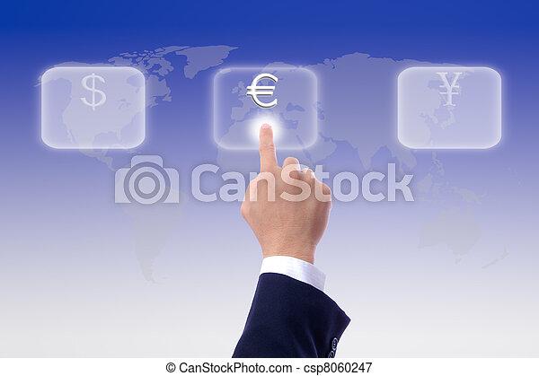 business man hand press euro sing button - csp8060247