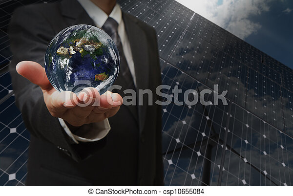 business man hand shows the earth - csp10655084
