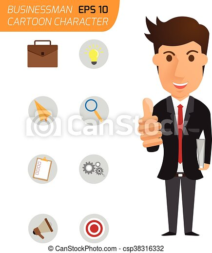 business man happy with thumbs up and icons business. cartoon character vector illustration. - csp38316332