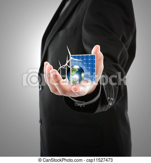 Business man hold Alternative Energy (solar cell, earth, wind turbine ) Elements of this image furnished by NASA - csp11527473