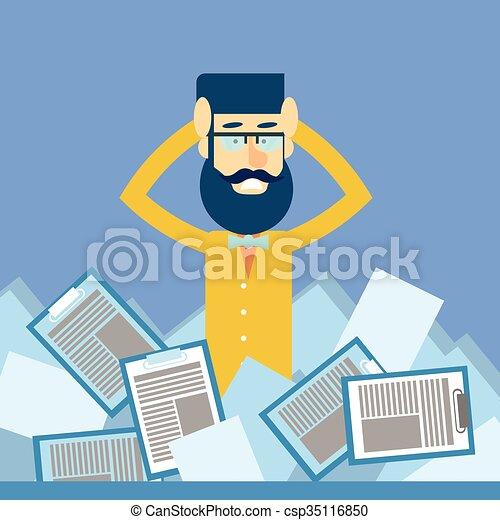 Business Man Hold Head Documents Paperwork Problem Concept - csp35116850