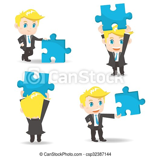 Business man hold puzzle - csp32387144