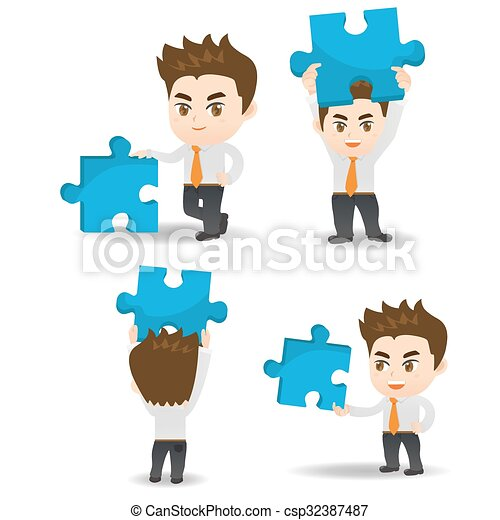 Business man hold puzzle - csp32387487