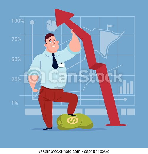 Business Man Hold Red Arrow Up Financial Success Concept - csp48718262
