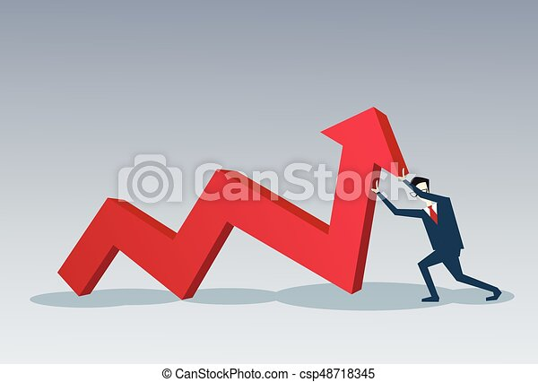 Business Man Hold Red Arrow Up Financial Success Concept - csp48718345