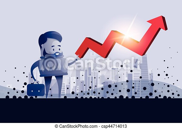 Business Man Hold Red Arrow Up Financial Success Concept - csp44714013
