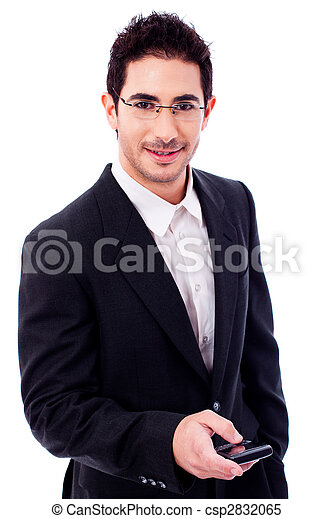 Business man holding a mobile phone - csp2832065