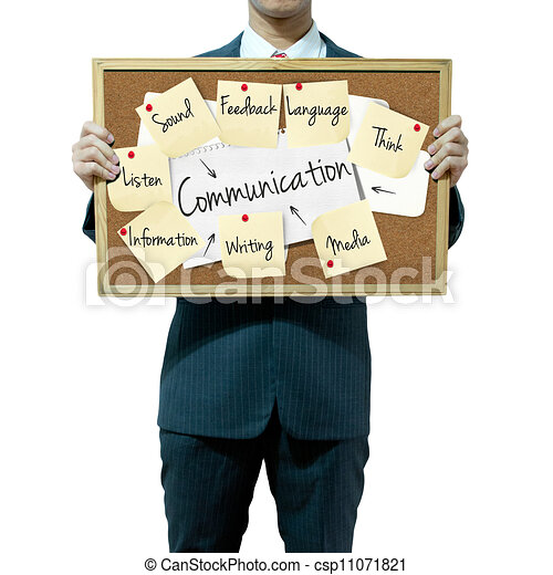 Business man holding board on the background, Communication concept - csp11071821