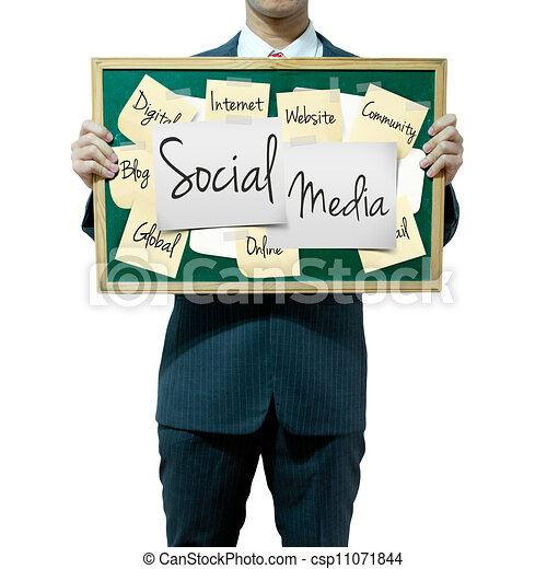 Business man holding board on the background, Social Media concept - csp11071844
