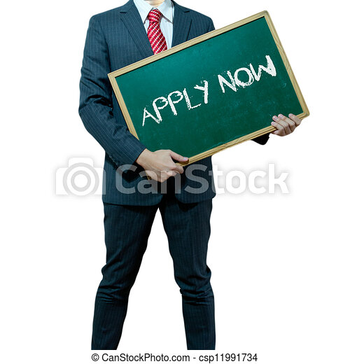 Business man holding board on the background, JOB Search - csp11991734
