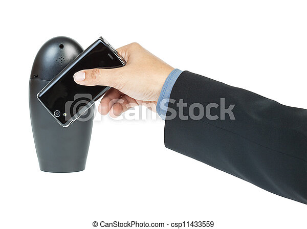 business man holding smartphone as NFC - Near field communication concept - csp11433559