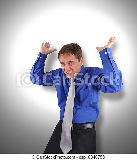 Business Man Holding Up Stress Weight - csp16340758