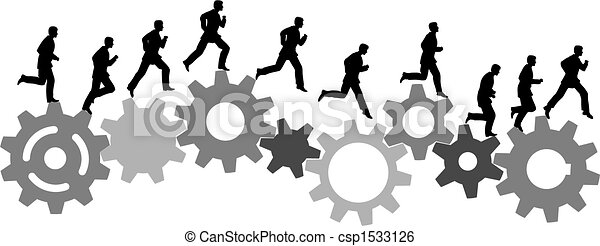 business man in a hurry runs on industrial machine gears - csp1533126