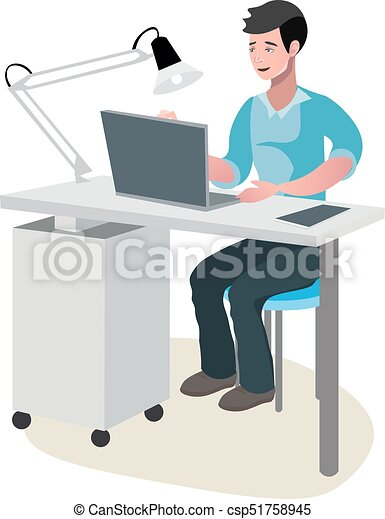 Business man in a suit working on computer - csp51758945