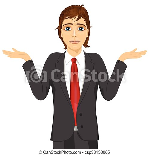 business man in doubt making shrug expression - csp33153085
