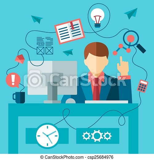 business man in formal suit sitting at the desk and working  - csp25684976