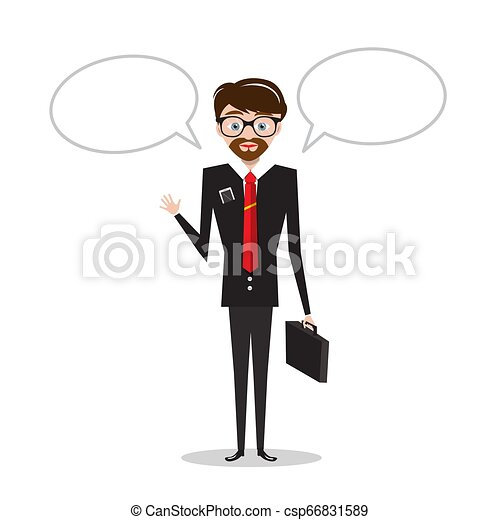 Business Man in Suit with Empty Speech Bubbles and Case Isolated on White Background. Vector Businessman Icon. - csp66831589