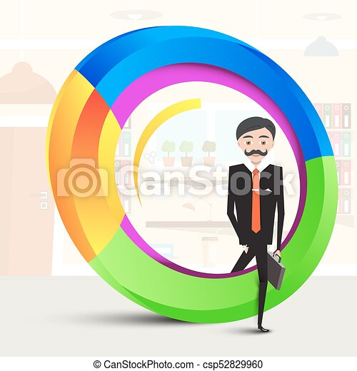 Business Man Inside Abstract Colorful Shape. Man in Suit Stepping Over Circle. Vector  Success Symbol. - csp52829960