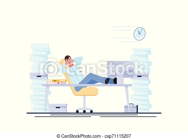 Business man is resting at his workplace desk during working hours with the piles of paper document around. Procrastinating and wasting time concept. Vector illustration. - Vector - csp71115207