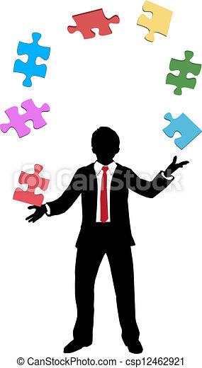 Business man juggling puzzle pieces problems - csp12462921