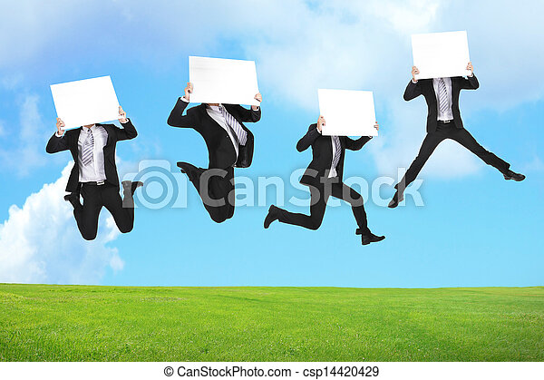 Business man jumping with billboard - csp14420429