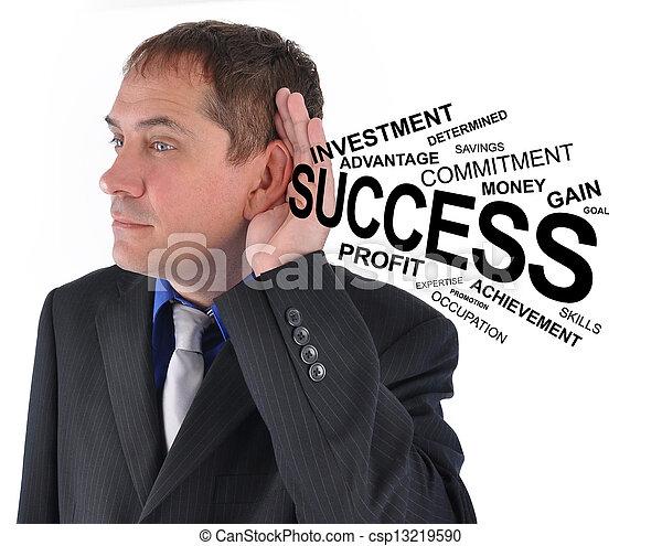 Business Man Listening to Success Help - csp13219590