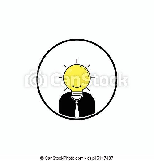 Business Man Logo With Idea Light Bulb Head Conceptbrain Power And Great Ideasvector Illustration