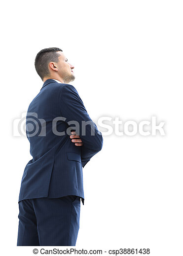 Business man looking at something  isolated on white background - csp38861438